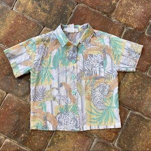 Vintage Short Sleeve Button Up Safari Shirt 5T